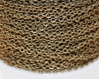 15ft Antique Brass Chain Soldered Links Cable Chain-Round Chain-3.5x3mm