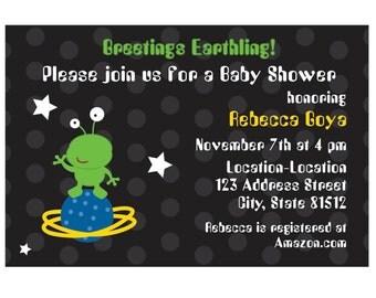 Custom Digital File: Outer Space Alien Baby Shower Invite