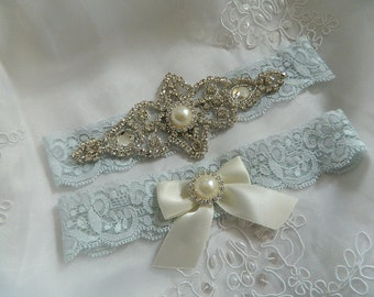 Wedding Garter, Light Blue Lace Garter, pearl and crystal bridal garter