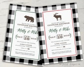 Cozy Cabin Couples Shower Invitation || Bear, Moose, Country, Rustic, Country, Winter || 5x7 Printable Invitation