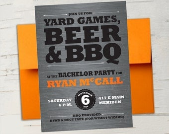 Beer & BBQ Bachelor Party Invitation || For the Guys, Steel Grey, Hunter Orange