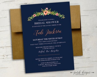 Floral Bridal Shower Invitation || Navy Blue, Coral, Peach, Feathers, Woodland, Fall