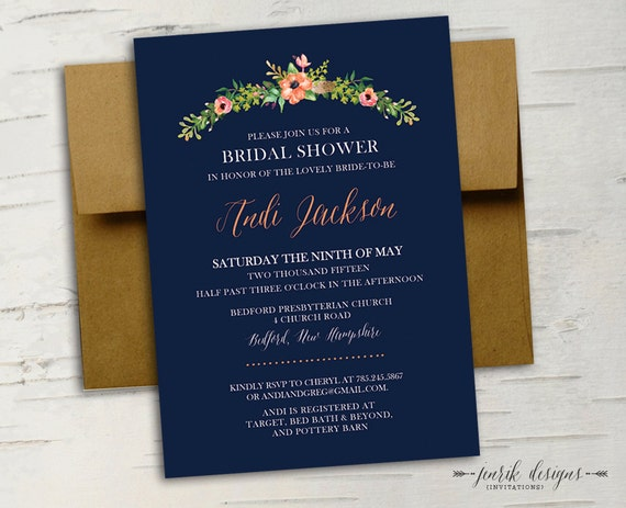 Navy And Peach Wedding Invitations: Floral Bridal Shower Invitation Navy Blue Coral Peach