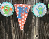 Little monster polka dot, stripe, and chevron Happy Birthday Banner, Birthday Banner, Birthday Decorations