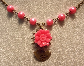 CLEARANCE!!! Bronze and Pink Flower Necklace