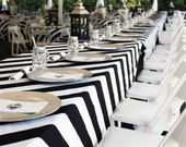 """FREE SHIPPING, Black and White, Striped Tablecloth, Kate Spade wedding, bridal shower, 2.5"""", 3.5"""" Stripes,"""