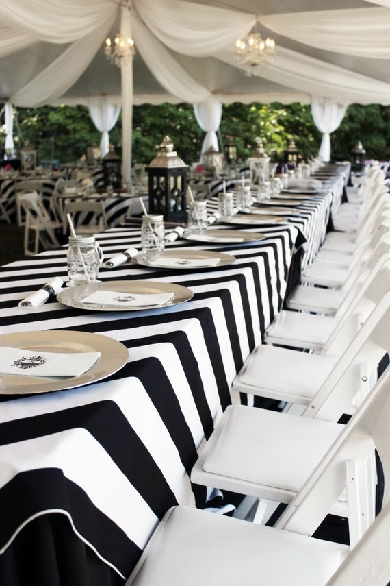 Free Shipping Black And White Striped Tablecloth Kate By