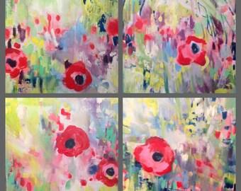Set of 4 Poppy Honey Collection--  Fine Art Print/ canvas sheet