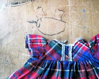 Vintage Doll Dress, Tartan Plaid, Vintage Doll Clothes, Doll Clothes, Red Blue Dress, Doll Clothing, Vintage Baby Dolls, Plaid Doll Dress