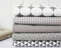 Gray Cotton Fabric - Big Circles, Plaid, Modern Dots, Leaf or Triangles - By the Yard 72628