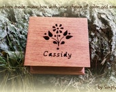 music box, wooden music box, customized music box, flower gift, personalized gift, flower girl gift,  personalized music box, music box shop