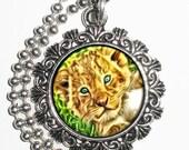 Lion Cub Art Pendant, Animal Resin Art Photo Painting Charm Pendant Necklace