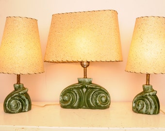 Mid Century Pottery Lamps Original Shades Green