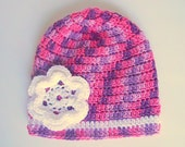 Toddler Girl Purple And Pink Hat Baby With White Flower 2 To 5 Years Old  Infant Winter Cap  Fall Beanie Crochet  Skullcap