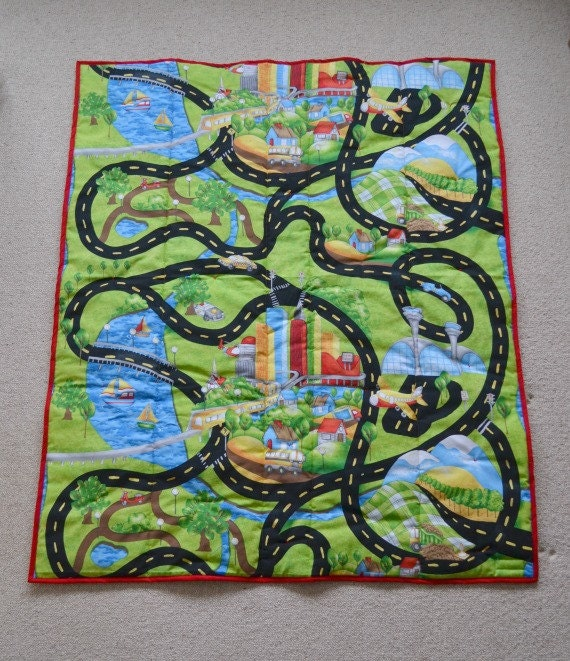 Baby play mat race track play mat baby quilt colorful baby : quilt mat - Adamdwight.com