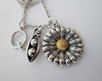 Sunflower, Peas in a Pod- Initial Necklace