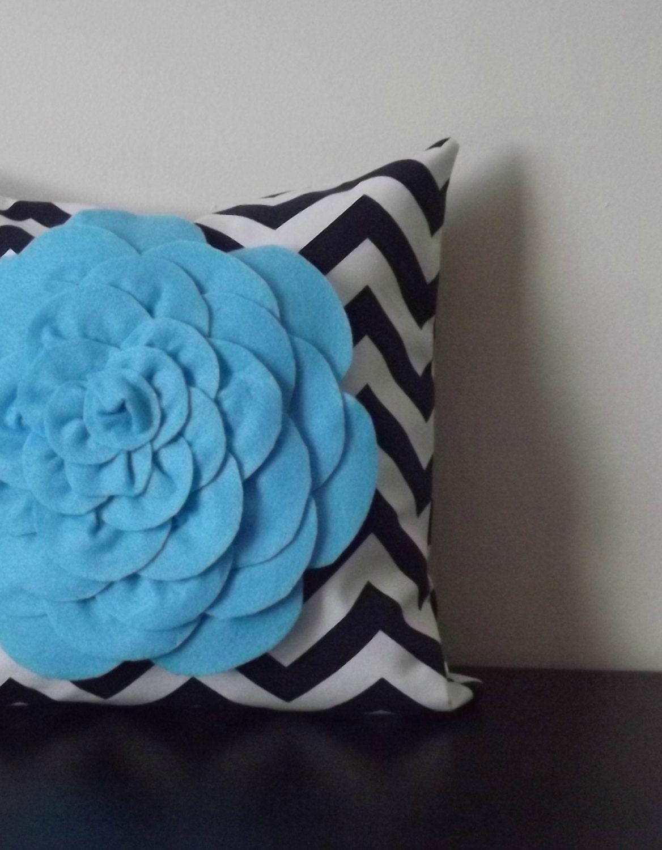 Throw Pillow Light Blue : Decorative Throw Pillow Cover Light Blue Chrysanthemum Pillow
