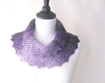 Purple and black knitted neckwarmer, purple cowl, lacy knitted cowl, Winter cowl, Scarflette, Winter accessories, uk cowls, uk scarves