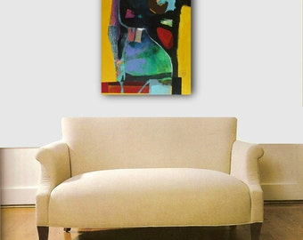 COLORFUL ABSTRACT PAINTING, mixed media textured painting
