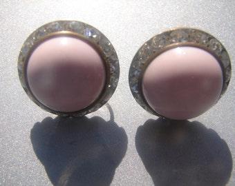 Vintage Pink & Rhinestone Earrings with Screwbacks 858.