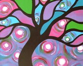 Colorful Tree Print 5x7 Inch Matte Print Original Artwork Wall Decor Nature Gift Idea Swirly Purple Pink Blue Green Stained Glass Tree Art