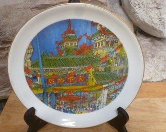Vtg 1977 Chicago China Town LE plate by Franklin McMahon