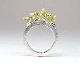 Sterling Silver Plant Ring / Silver Flower Ring