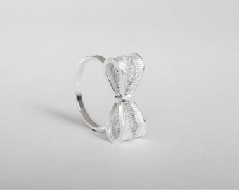 Delicate Silver Bow Ring