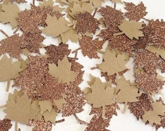 """100 Kraft + Brown Glitter Maple Leaf Confetti - 1"""" - Confetti for weddings, birthdays, thanksgiving, fall!"""
