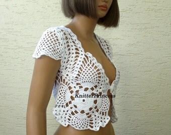 White crochet bolero with caps, gift for her, crochet bolero, womens clothing, womens bolero, gift for mom, summer bolero shrug