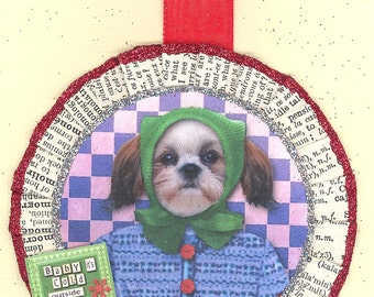 Shih Tzu Dog  vintage style Christmas Ornament
