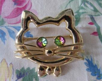 Vintage KITTY Pin/Brooch  Aurora Borealis EYES