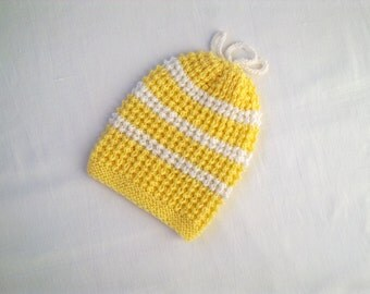 Baby hat cap yellow toddler girl hand knitted hat yellow white stripes children 6 -12 months