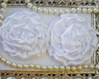 2 Large Satin Rolled WHITE Rose/Rosettes- fabric flowers, satin flower, DIY headband supplies, accessory supplies