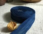 organic indigo blue hand-dyed cotton ribbon 1.5 inches width