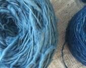 100% organic handspund cotton yarn: Fah Mui blue (2 rolls)