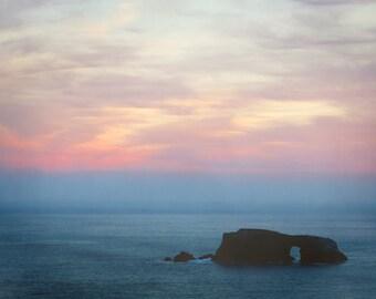 "sunset photography / ocean art print / pink blue pastel wall art / minimal sea California landscape photo print / ""Pink Arched Rock Sunset"""