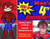 Spidey Spider-man Birthday Invitation - Super Heroes Printable DIY You Print at Home One Hour Photo