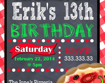 PIZZA PARTY INVITATION - Pizza Birthday Party Invitation - Pizza Party Invite - Pizza Birthday Invite - Italian Print at Home Digital File