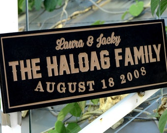 Personalized Family Name Sign Plaque Custom Made 8x22 engraved MDF wood Family sign, wedding or anniversary gift 011d
