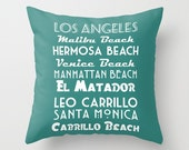 California Pillow, California Beaches,  Los Angeles pillow covers 18 x 18 Surfer Gift, Blue, Black Aqua Pillow Decorative Throw Pillow Cover