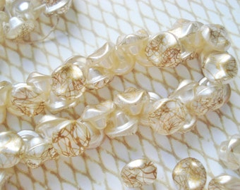 SALE - Japanese Pinched Glass Buttons - Buy One Get One Free - 12 Ivory and Gold Glass Buttons - Gold Pinched Buttons