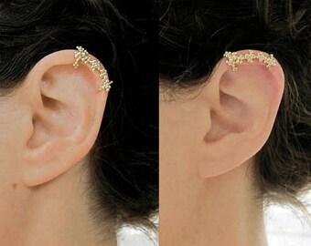 Bohemian ear cuff, Gold ear wrap, Solid Gold Ear Cuff for her, Delicate Ear Cuff, Unique ear cuff, Cool Ear Cuff
