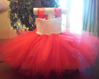 9 to 12 mo red/white tutu dress