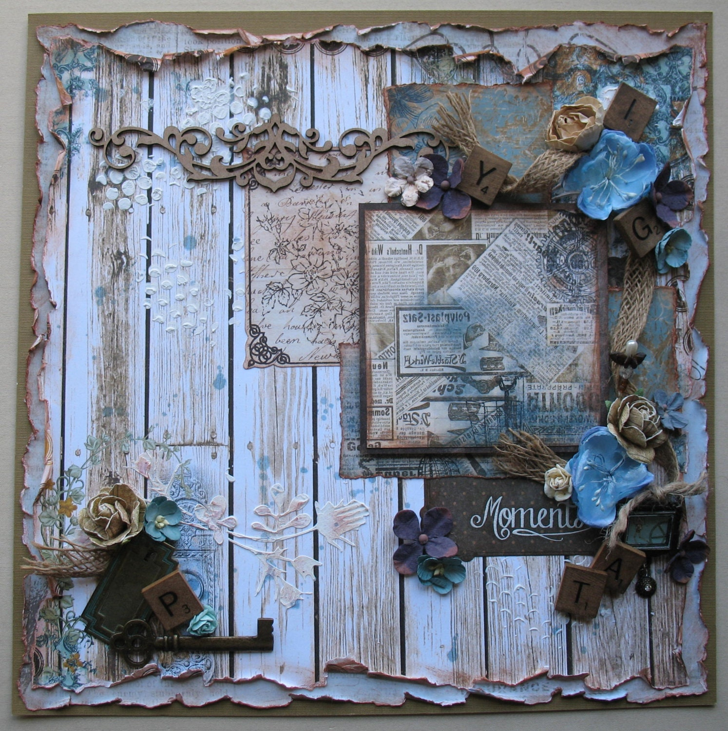 Premade Scrapbook Page 12 x 12 Shabby Chic Vintage
