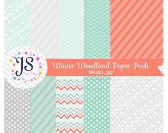 INSTANT DOWNLOAD - Winter Woodland Digital Paper, Mint printable paper, backgrounds, aqua digital paper