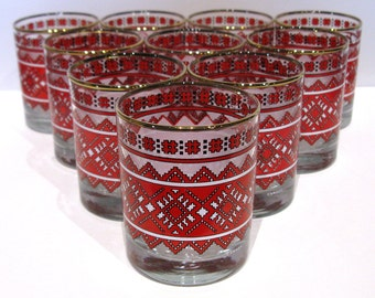 Vintage LIBBEY Cocktail Glasses / Set of 10 / CANADIAN Red White Black / Retro Glassware / Barware / 1950s - 70s