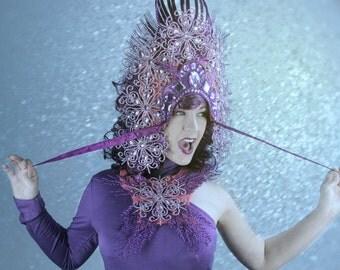 Purple,Ornate, AVANT GARDE Crown,headpiece headdress ,Jeweled,Necklace,headpiece,High fashion,headpiece,headdress