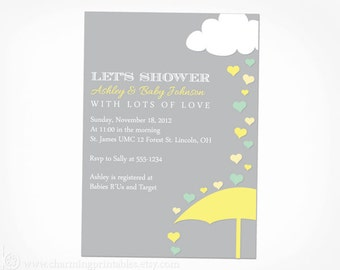 Gender Neutral Baby Shower Invitation - PRINTABLE PDF File - Rain Shower Baby Shower  Invite - Green Gray Yellow April Showers