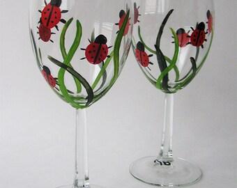 Lady Bug Wine Glasses - Set of 2